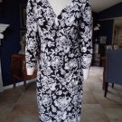 RALPH LAUREN Floral 3/4 Sleeve Ruched Stretch Faux Wrap Sheath Dress 10