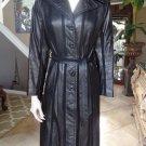 THE TANNERY Black  Striped100% Leather Trench Spy Jacket Blazer 9/10 Vintage