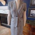 CALVIN KLEIN Grey Tweed Short sleeve  Linen Blend Blazer & Straight Skirt Suit 6