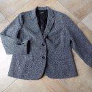 TALBOTS Grey Tweed  Herringbone Button Front Blazer Jacket XL