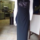 RALPH LAUREN Black Sequin One Shoulder Ruched Side Slit  Evening Gown Dress 8