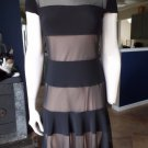 JOSEPH RIBKOFF Black Striped Short Sleeve Cocktail Classic Sheath Dress US 8