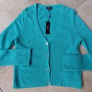 NWT TALBOTS Teal  100% Cashmere V-Neck Button Front Cardigan Sweater L