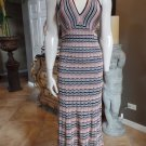 Trina Turk Suriya Halter Zigzag Chevron  Maxi Sweater Knit  Dress S