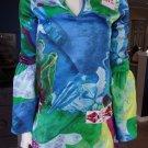 CUSTO BARCELONA 100% Silk Printed Embroidered Long Slee Tunic Top Shirt Blouse 1