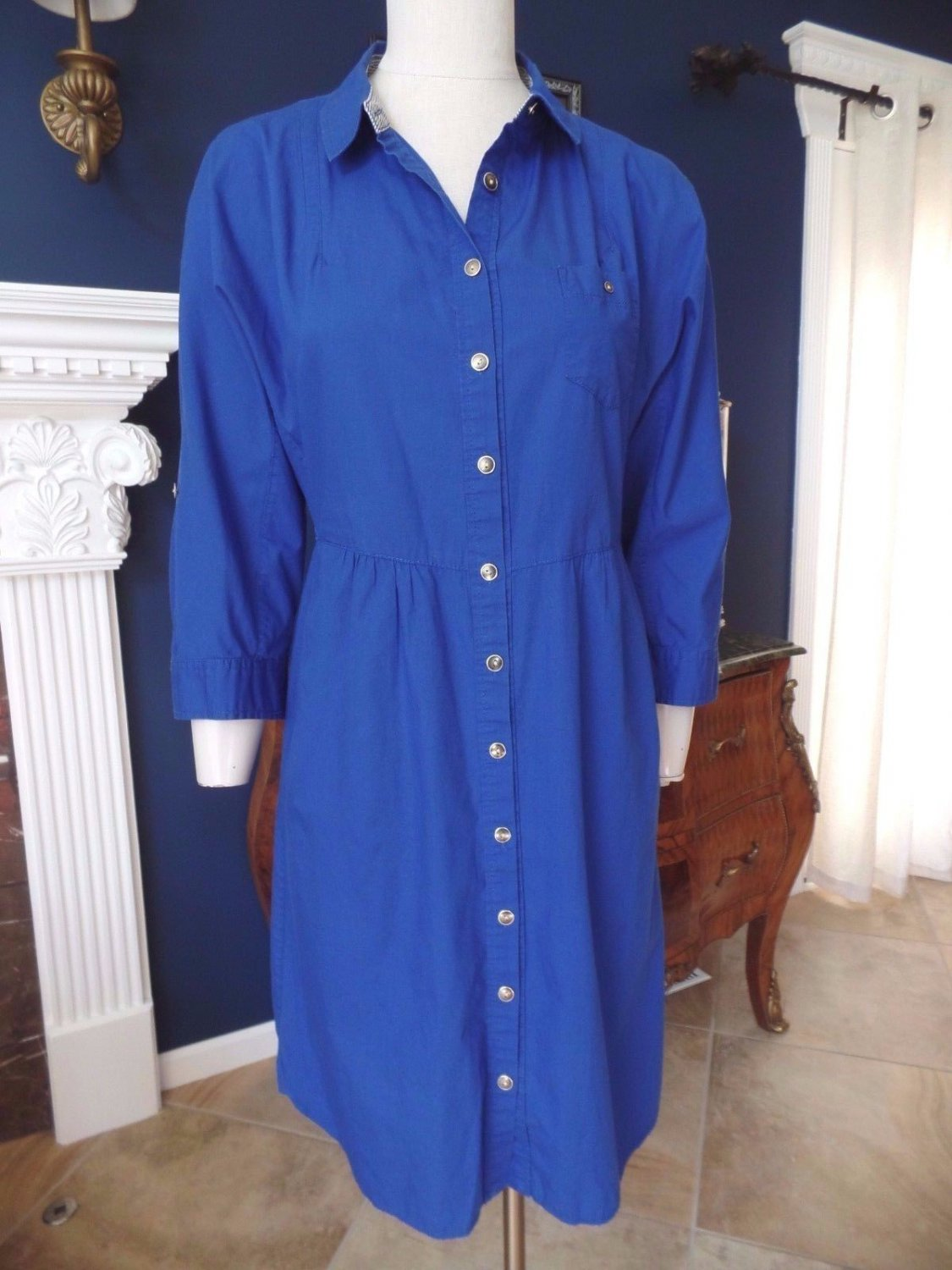 Anthropologie  ODILLE Blue 100% Cotton Button Front Shirt Dress 10