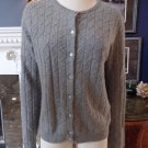 WENDY B. Grey 100% Cashmere Cable-knit Button Front  Cardigan Sweater XL