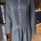 J Crew Gray Long Sleeve Drop Waist Button Front Wool Blend Sheath Dress 6
