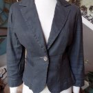 Anthropologie LEVEL 99 Gray Linen Blend 3/4 Sleeve Blazer Jacket M
