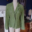 EILEEN FISHER Apple Green 100% Linen Button Front Jacket Blazer M