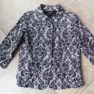 NWOT TALBOTS Printed Cotton 3/4 Sleeve Button Front Blazer Jacket 10P