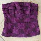 NWT WHITE HOUSE BLACK MARKET Purple Snakeskin Print Corset Top  Shirt 6