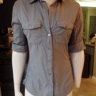 STANDARD JAMES PERSE Olive Button Front 100% Cotton Top Shirt Blouse 3