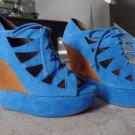 Jeffrey Campbell Harlow Platform Lace up Heels Blue Suede 7 worn 1 time inside