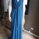 DAVID MEISTER Blue Draped Halter Evening Gown Dress 8