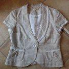 NWT WHITE HOUSE BLACK MARKET Beige Short Sleeve Tweed Jacket Blazer 14