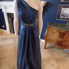 BARI JAY Blue Beaded Taffeta One Shoulder Evening Gown Dress 12