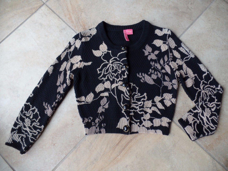 Charlotte Tarantola Cropped Black and Beige Floral Cardigan Sweater M