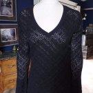 TALBOTS Black Bell SLeeve 100% Cotton V Neck Knit Sweater M