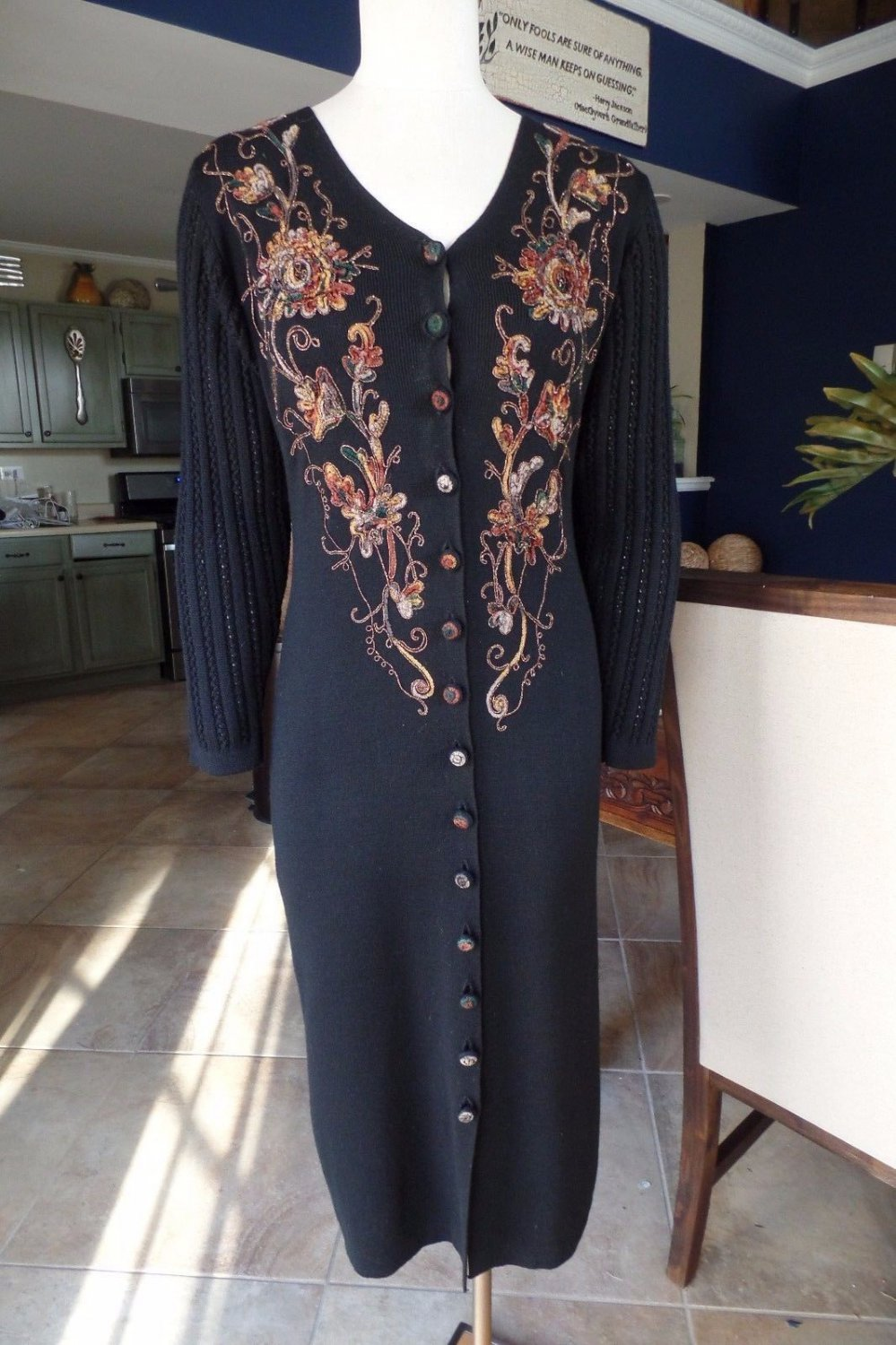 CAROLE LITTLE Black Embroidered Long Length Duster Cardigan Sweater P