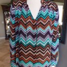 PARKER Browns & Greens Zig Zag Print Long Sleeve Button Front Top Shirt Blouse S