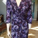 NWT LAUNDRY SHELLI SEGAL Printed Twist Knot Front 3/4 Sleeve Sheath  Dress 8