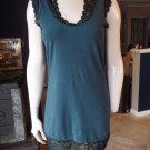 FREE PEOPLE Teal Sleeveless Lace Trim Stretch Mini Dress M