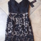 NWT SUE WONG Black Embroidered Cocktail Evening Sheath Dress 0