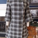 NWOT  ET VOUS BLACK/GREY 3/4 Sleeve Bell Sleeve Wool Blend Plaid Tweed Jacket 10