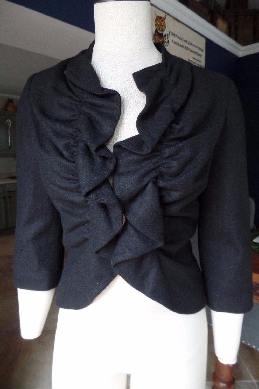 Anthropologie Tabitha Black Rouged Ruffled 3/4 Sleeve Jacket Blazer 4