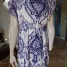 MNG Printed Purple/White Chiffon Sheath Dress 4
