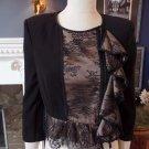 BCBG MAX AZRIA Black/Nude Cassidel Lace Peplum Zip Front Jacket Blazer S