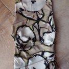 ANN TAYLOR Black Tan Cream Print Sleeveless Rushed Top Shirt Blouse 2