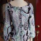 TAHARI Multi Color Paisley Print 100% Cotton Button Front Top Shirt Blouse XS