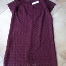 NWT ELVI Maroon Lace Short Sleeve Shift Dress US 16