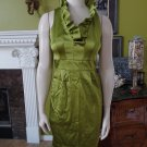 NWT TAYLOR Apple Green Ruffled Satin Sheath Dress 2