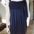BCBG MAX AZRIA Navy 100% silk Skirt Bubble Hem Cocktail Sun Dress 2