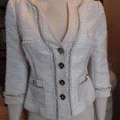 WHITE HOUSE BLACK MARKET Beige Chain Detail Tweed Jacket Blazer 2