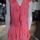 CYNTHIA STEFFE Coral Zip Front 100% Silk Ruffled Shift Dress 0
