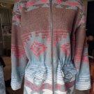 WOOLRICH Aztec Hooded Drawstring Waist Wool Blend Jacket S