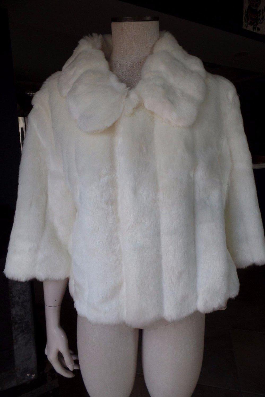 CALVIN KLEIN Off White Cropped 3/4 Sleeve Faux Fur Coat Jacket M