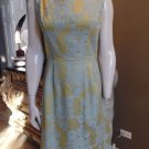 VINTAGE 50's 60's Floral Printed Brocade Classic Sheath Dress L