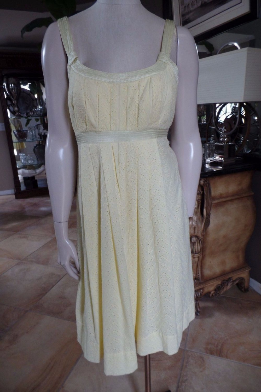 CALVIN KLEIN Yellow Eyelet Sleeveless Fit & Flare Sheath Dress 12