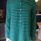 J CREW Green/Navy Stripe 100% Silk Tunic  Button Front Top Shirt Blouse 4