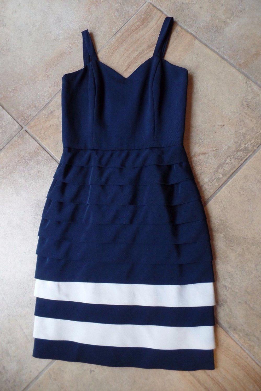Tomasz Starzewski Blue Layered Ruffled Sleeveless 100% Silk Sheath  Dress US 10