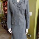 TAHARI Gray Pinstripe Ruffled Collar Blazer And Skirt Suit 6