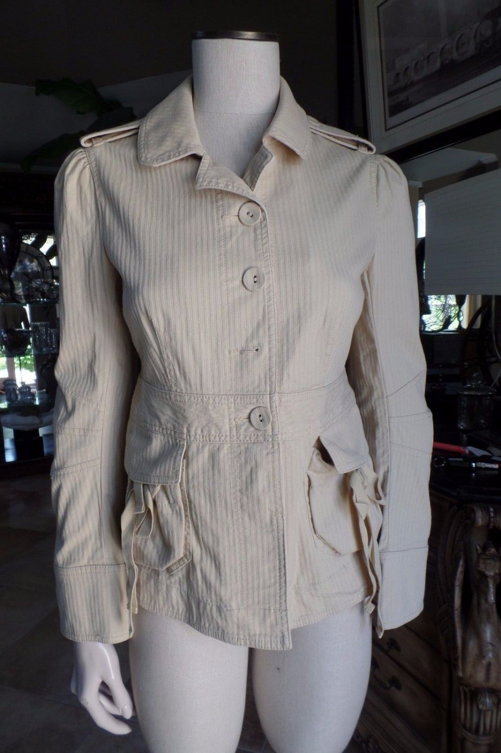 MARC JACOBS Beige Safari Cargo Blazer Jacket 8