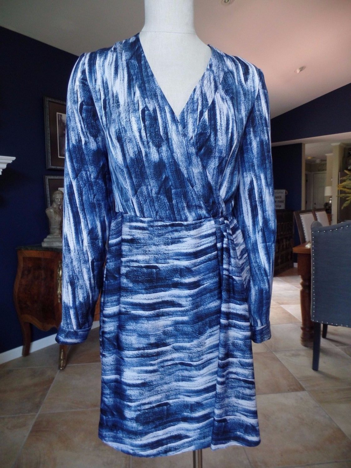 CATHERINE MALANDRINO Blue Printed Long sleeve Faux Wrap Sheath Dress 6