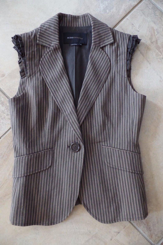BCBG MAXAZRIA Brown Pinstriped Sleeveless Ruffled Jacket Blazer XS