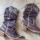 NANA LEATHER COWBOY BOOTS SLOUCH CHOCOLATE BROWN & GOLD 8